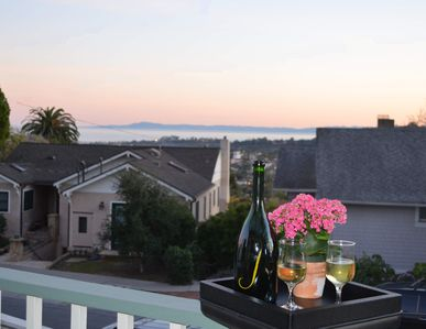 Sunset on the front deck with a view of Downtown Santa Barbara and the ocean