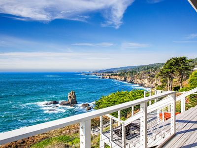 Photo for NEW LISTING! Ocean view home with private hot tub, fireplace & close to town!