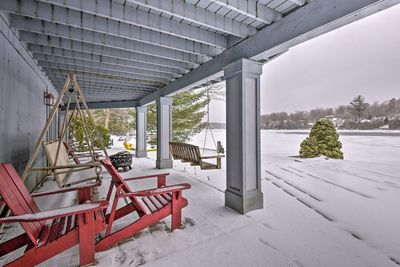 The waterfront home is just 5 minutes from ski slopes and water parks!