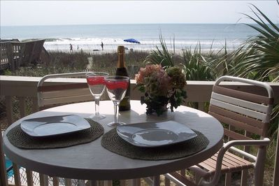 Ocean front dining on the private balcony....it can't get any better than this!