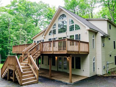 Photo for ★3000ft²★Biggest in Poconos★2 Living Spaces★XL Deck★Lakes/Beaches★Sleeps 19