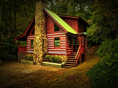 Photo for This beautiful real Log cabin sits on a large 5 acre site.