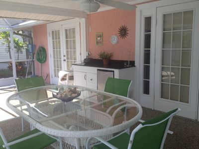 Patio/Pool Dinning (small refrigerator just a step away)
