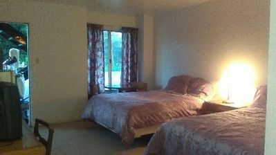 View of our guest room. Choice of one king or 2 queen beds.