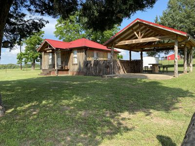 Henry Homeplace cabin and pavilion. You have arrived at your destination!