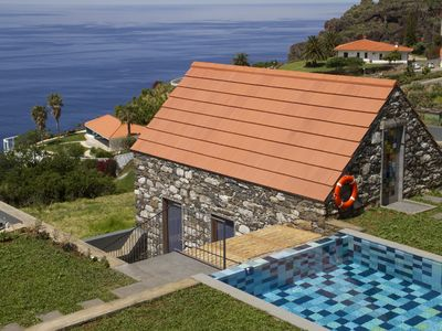 Photo for studio in traditional stone house with shared heated pool & wide ocean view
