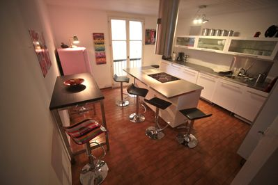 Modern well equipped kitchen with island