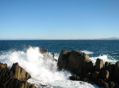 Waves crash on Lovers' Point
