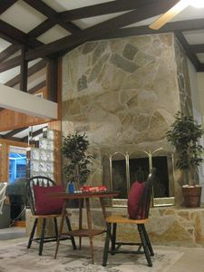 Vaulted ceilings add to the open floor plan.