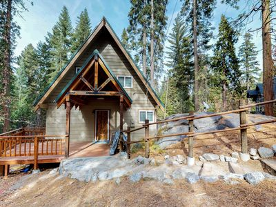 Photo for Contemporary cabin with plenty of room & lovely tree-lined views