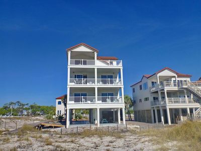 "Photo for Ready after Hurricane Michael! FREE BEACH GEAR! Beachfront, East End, Pets OK, Elevator, Wi-Fi, 6BR/7BA ""Sunkissed"""