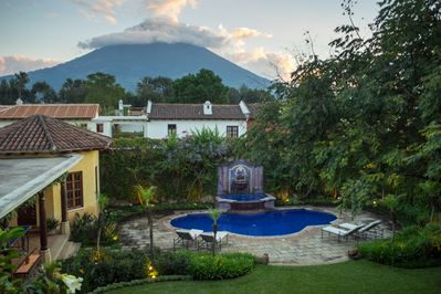 View from upstairs terrace with impressive views of Volcan de Agua.