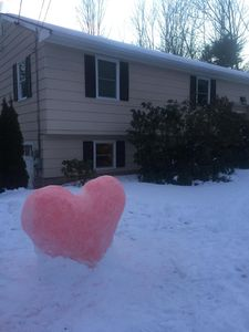 Front of house- kids made a snow heart sprayed with red food coloring.