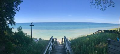Photo for Quintessential Lake Michigan Cottage with Private Beach