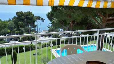 """Photo for Apartment with sea views and pool in the cove """"Cap Roig"""" Platja d'Aro"""