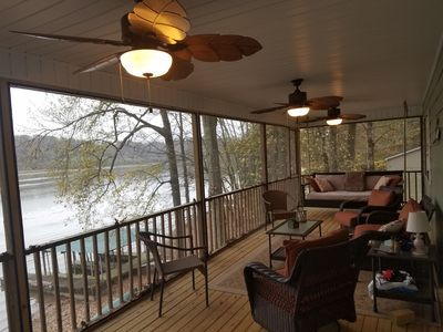 The screened in, mosquito proof porch, has beautiful views of the water and various wildlife, including a local family of bald eagles.  There is also a bed swing that provides relaxing afternoon naps.  Morning sunrise and evening sunset are awesome.