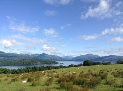 Lush green summer's day, view of the Loch and Ben Lomond from the garden