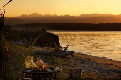 Western, Sunset, Olympic Mountain view, from Hood Canal, private, beachfront