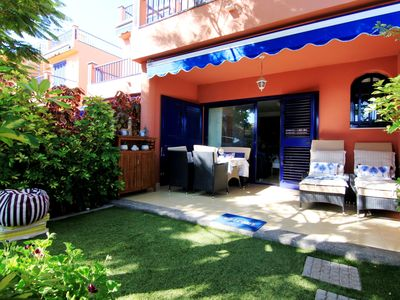Photo for Bungalow in Meloneras area. Sea views. Direct access to Beach and Avenue.