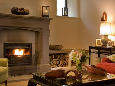 Relax in front of the roaring fire
