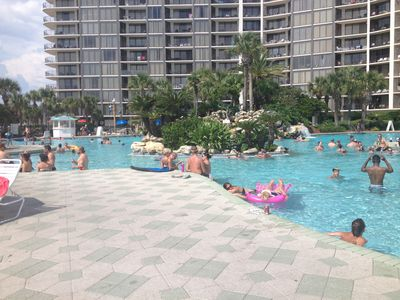 Lagoon pool across the street from condo. Condo IS NOT in the towers