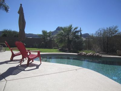 Pebble Tech pool with beautiful views of the Tucson Mountains.