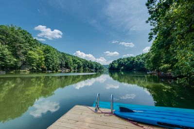 View from our dock of Bald Mountain Lake.