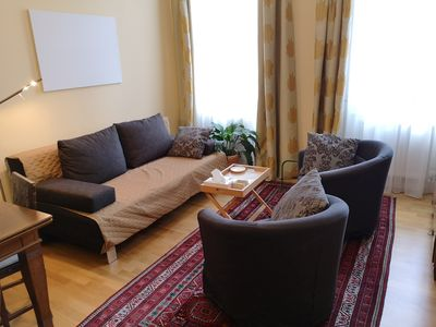 Photo for Charming, bright apartment in Viennese Art Nouveau building, close to the center, free Wi-Fi