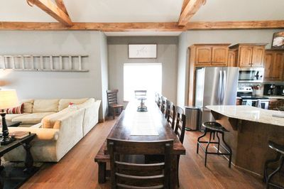 Huge custom made farmhouse dining table for friends and family.
