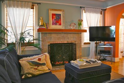Curl up and read or watch a movie in front of the fireplace...