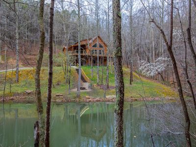 Photo for Gorgeous pet friendly property with 3 BR/3 BA cabin, multipule private acres, and a pond