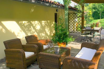 relax with a cappuccino or an aperitivo on the terrace