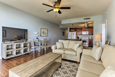 The condo is located in the family-friendly Laketown Wharf Resort.