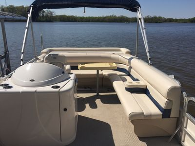 We rent 2 lake houses so the pontoon is available to whomever books it first.