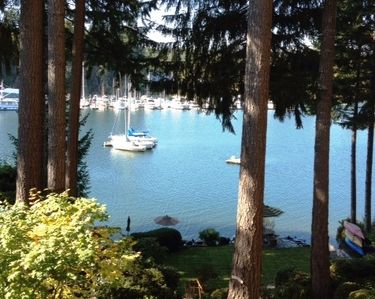 The view from deck. Western exposure- lots of sun!  Kayaks, fire pit & sundeck.