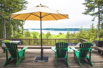 View from deck over Muscongus Bay with fire pit and over 1000 sq feet