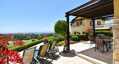 Photo for Lovely 3 bedroom ground floor apartment 'D01' - amazing golf and sea views, communal pool and resort facilities, Orpheus Village, Aphrodite Hi