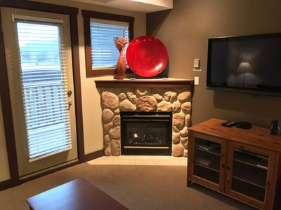 Gas Fireplace and Cable TV. Door Leads out to your Private Balcony. Mountain View Side.