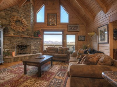 Photo for Spacious Log Home -4 Miles to Downtown Boone, Hot Tub, Amazing Mountain Views!