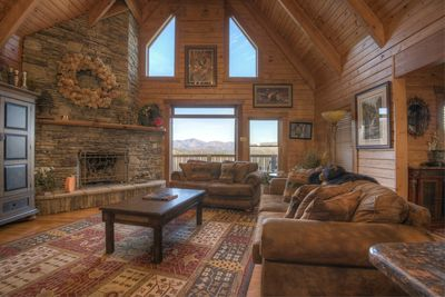 Great room with spectacular mountain views.