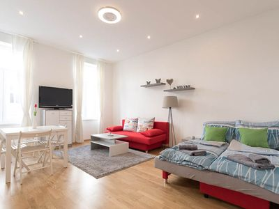 Photo for NEW: Bright Red Heart Apartment in Leopoldstadt