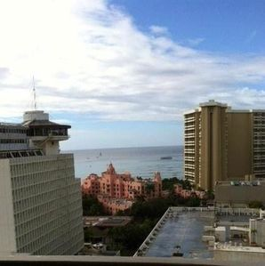 View of Waikiki Beach from your front door at the Marine Surf!