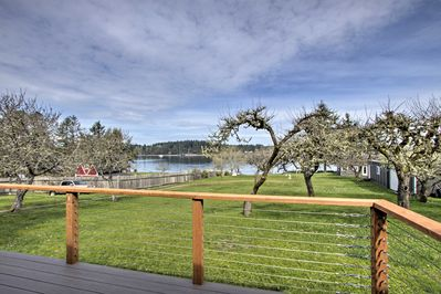 Appreciate views of the water that surround Anderson Island from the deck!