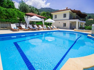 Photo for Beautiful 5 Bedroom Villa with Very Private and Heated Pool, Distant Sea Views