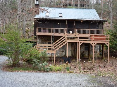 Photo for 2BR/2BA Awesome Cabin On Creek, Sleeps 8, Hot Tub, Gas Grill, Large Fenced Yard For Pets, Wifi, Scre