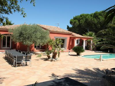 Photo for 200 sqm villa on a single level on a 14 acres of land, trees, pool and sea