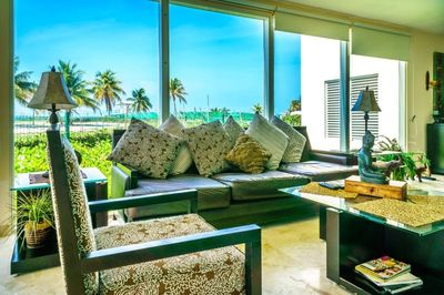 Living room offers spectacular views.