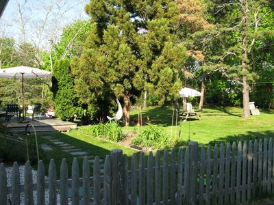 Looking from driveway to backyard