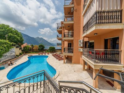 Photo for Exclusive, 2 bedrooms apartment with shared pool, overlooking Kotor Bay