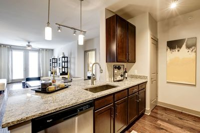 Kitchen with large bar